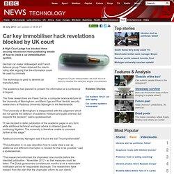 Car key immobiliser hack revelations blocked by UK court