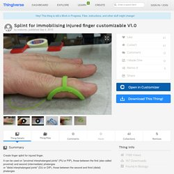 Splint for immobilising injured finger customizable V1.0 by srakovec