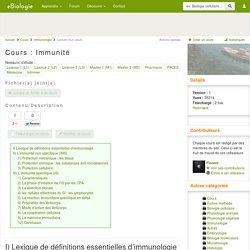 Immunité - Cours de biologie, sur eBiologie