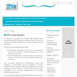 IMP, mode d'emploi - SNEP-UNSA