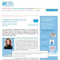L'impact du GDPR sur les contrats SaaS. Par Donatienne Blin, Avocat.