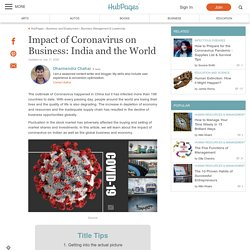 Impact of Coronavirus on Business: India and the World