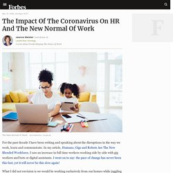 The Impact Of The Coronavirus On HR And The New Normal Of Work