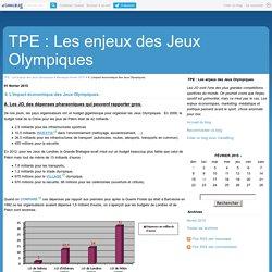 II. L'impact économique des Jeux Olympiques. - TPE : Les enjeux des Jeux Olympiques