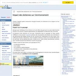 Impact des éoliennes sur l'environnement