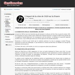 L'impact de la crise de 1929 sur la France - Fiche de cours : Histoire - Gestionotes