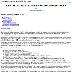 89.01.05: The Impact of the Music of the Harlem Renaissance on Society