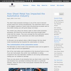 How Sheet Metal has Impacted the Automotive Industry