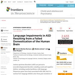 Language Impairments in ASD Resulting from a Failed Domestication of the Human Brain