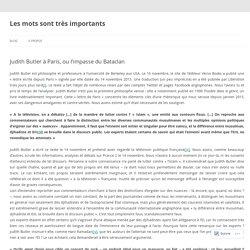 Judith Butler à Paris, ou l'impasse du Bataclan