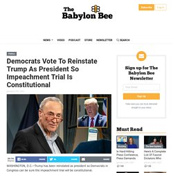 Democrats Vote To Reinstate Trump As President So Impeachment Trial Is Constitutional
