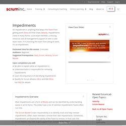 Impediments - Scrum Inc
