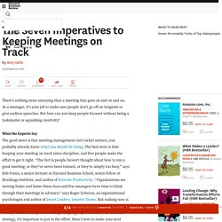 The Seven Imperatives to Keeping Meetings on Track