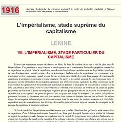 Lenine : l'impérialisme, stade suprême du capitalisme (Ch. VII)
