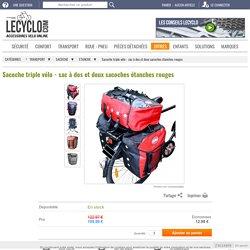 Triple sacoche de vélo imperméable rouge pour cyclotourisme