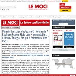 Demain dans agendas (gratuit) : Roumanie / Business France, États-Unis / Implantation, Afrique / Énergie, Afrique / Paiements, Vins / Paris