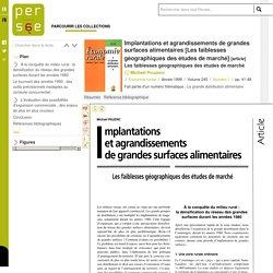 Implantations et agrandissements de grandes surfaces alimentaires [Les faiblesses géographiques des études de marché]
