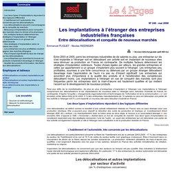 Les implantations à l'étranger des entreprises industrielles françaises