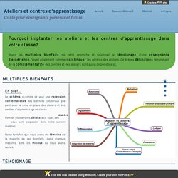 Implanter les ateliers et les centres d'apprentissage
