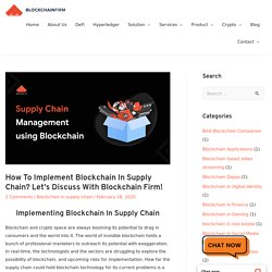 Implementing blockchain technology in supply chain
