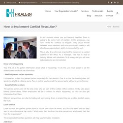 How to Implement Conflict Resolution?