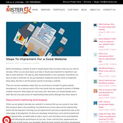 Steps To Implement For a Good Website - MisterSK Infotech