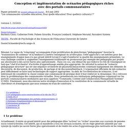 Conception et implémentation de scénarios pédagogiques riches avec des portails communautaires
