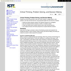 NETS Implementation - Critical Thinking, Problem Solving, and Decision ...
