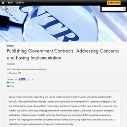 Publishing Government Contracts: Addressing Concerns and Easing Implementation