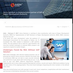 RDA Select Aarav Solutions To Implement SAP Solutions