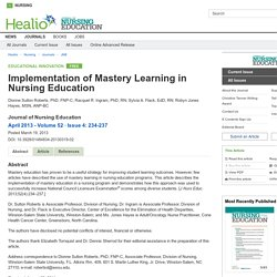 Implementation of Mastery Learning in Nursing Education