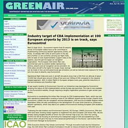 Industry target of CDA implementation at 100 European airports by 2013 is on track, says Eurocontrol on GreenAir Online