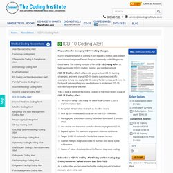 ICD-10 Coding Alert - Updates, Implementation & Guidelines