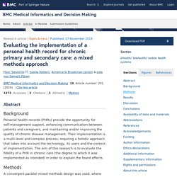 Evaluating the implementation of a personal health record for chronic primary and secondary care: a mixed methods approach