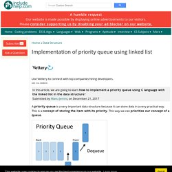 Implementation of priority queue using linked list