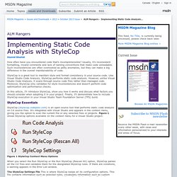 ALM Rangers - Implementing Static Code Analysis with StyleCop