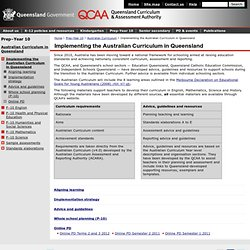 Implementing the Australian Curriculum in Queensland [Queensland Curriculum and Assessment Authority]