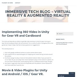 Implementing 360 Video in Unity for Gear VR and Cardboard