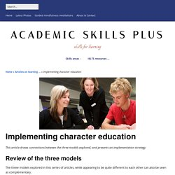 Implementing character education - Academic Skills plus