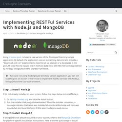 Implementing RESTFul Services with Node.js and MongoDB