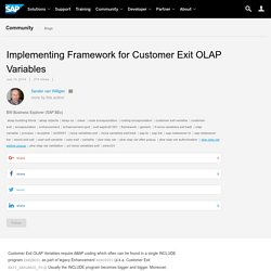 Implementing Framework for Customer Exit OLAP Variables