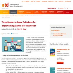 Three Research-Based Guidelines for Implementing Games Into Instruction