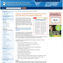 Guidelines for Implementing the ELA Common Core Standards - International Reading Association
