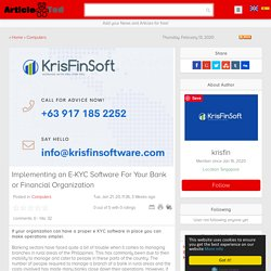 Implementing an E-KYC Software For Your Bank or Financial Organization