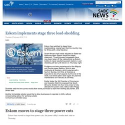 Eskom implements stage three load-shedding:Thursday 5 February 2015