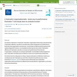 L'implication organisationnelle : levier pour la performance financière ? Une étude dans le contexte tunisien