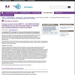 Compte-rendu final du GDRP 71 : LES IMPLICATIONS POSSIBLES DE LA VIE SCOLAIRE DANS LE CENTRE DES CONNAISSANCES ET DES CULTURES. - CPE - Vie scolaire- Académie de Dijon - aLaTrois