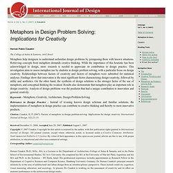 Metaphors in Design Problem Solving: Implications for Creativity