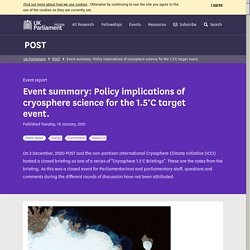 Event summary: Policy implications of cryosphere science for the 1.5°C target event. - POST