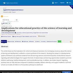 Full article: Implications for educational practice of the science of learning and development